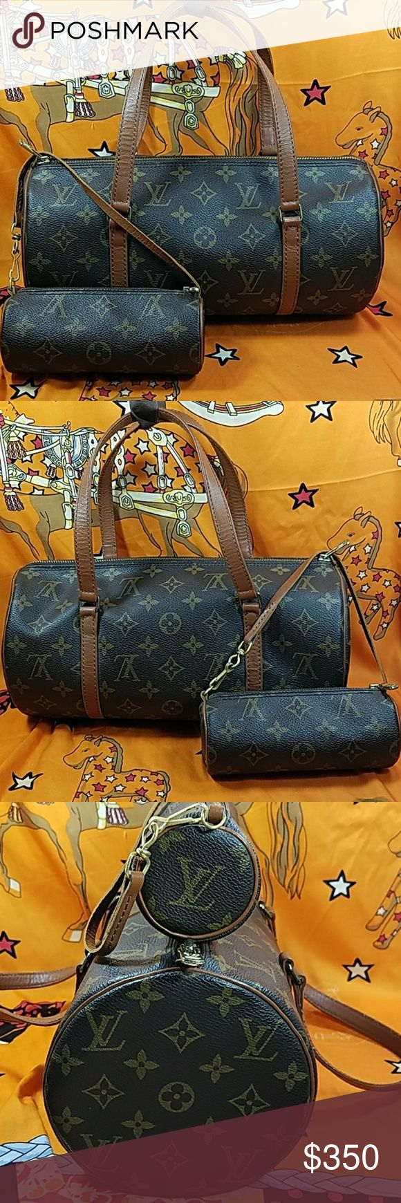 Auth.Louis Vuitton Monogram Papillon & Pochette The outer canvas of both are in good condition.  Leather trims and handles of both  are in good condition also. Inside is nice and clean. The hardwares are tarnished. Date code # TH8812. It made in France. Dimension:(about) 6, 12, & 6. No trade please. Louis Vuitton Bags Satchels