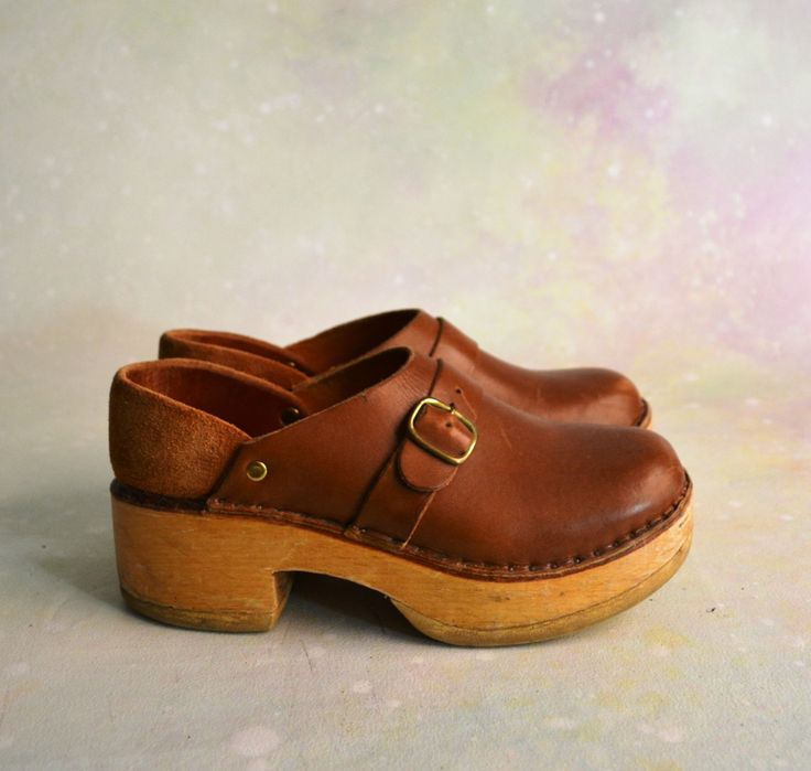1970s Handmade Clogs // Classic Style Vintage Clogs With Monk