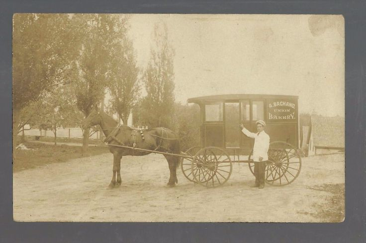 Sanford MAINE-1910 BAKERY DELIVERY WAGON A. Bachand UNION BAKERY Baker