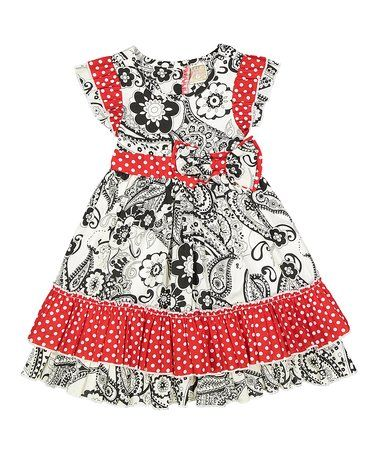 Look what I found on #zulily! White & Red Floral Keyhole Back Dress - Toddler & Girls #zulilyfinds