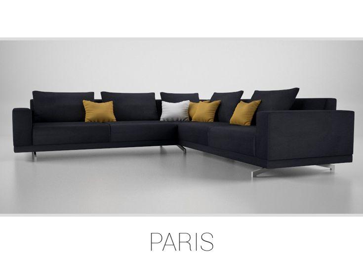 PARIS – Trendová rohová sedačka. Poskytuje komfortný osobný priestor pre viacerých súčasne, opierky na chrbát sú zároveň vankúšmi, s ktorými sa dá používanie sedačky variovať. Štýlová taburetka môže slúžiť aj ako nevšedný konferenčný stolík.