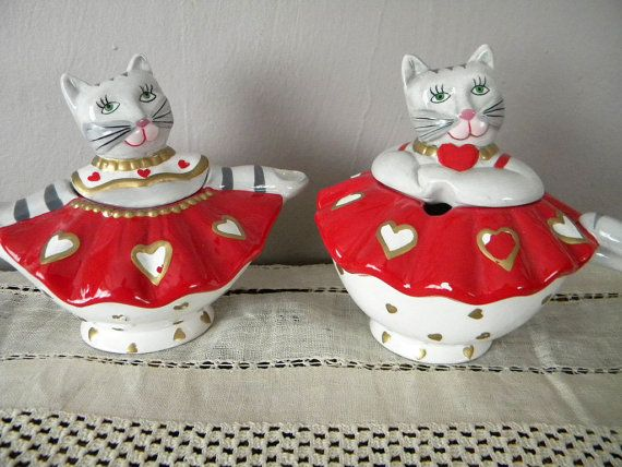 Vintage Set of Valentine's Day Cat Cream and Sugar Servers by Rossi