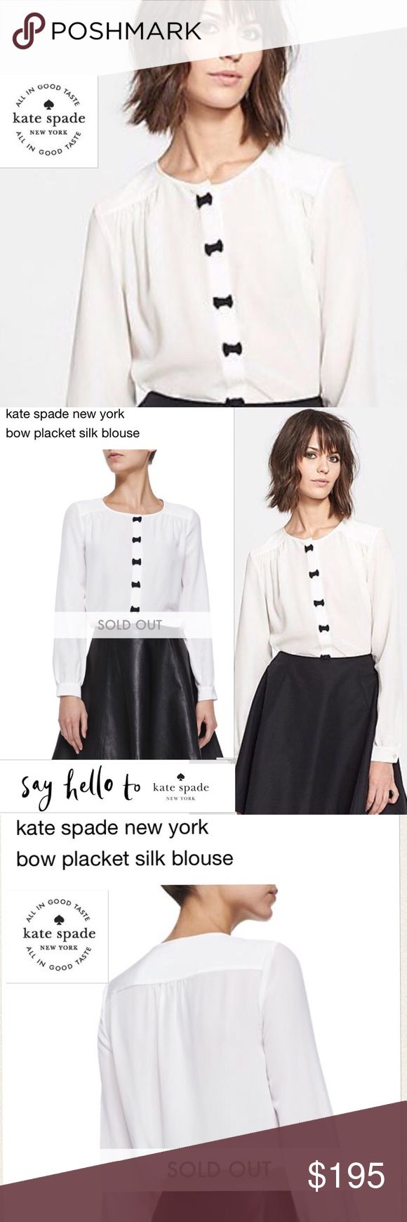 🆕Kate Spade New York Bow Placket Silk Blouse 💝Absolutely stunning Kate Spade…