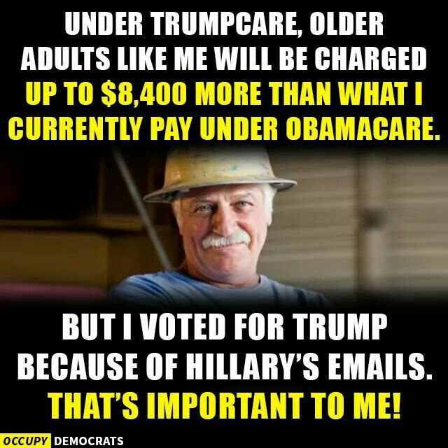 """Because Hillary's emails were a more severe risk, but sure glad we now have """"TrumpCare"""" where we pay more for a lot less healthcare coverage."""