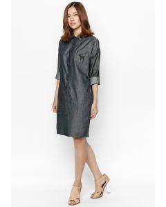 Đầm Sơ Mi Jean Mỏng Tay Dài Cung Cấp Bởi Tad W16D03A Đen