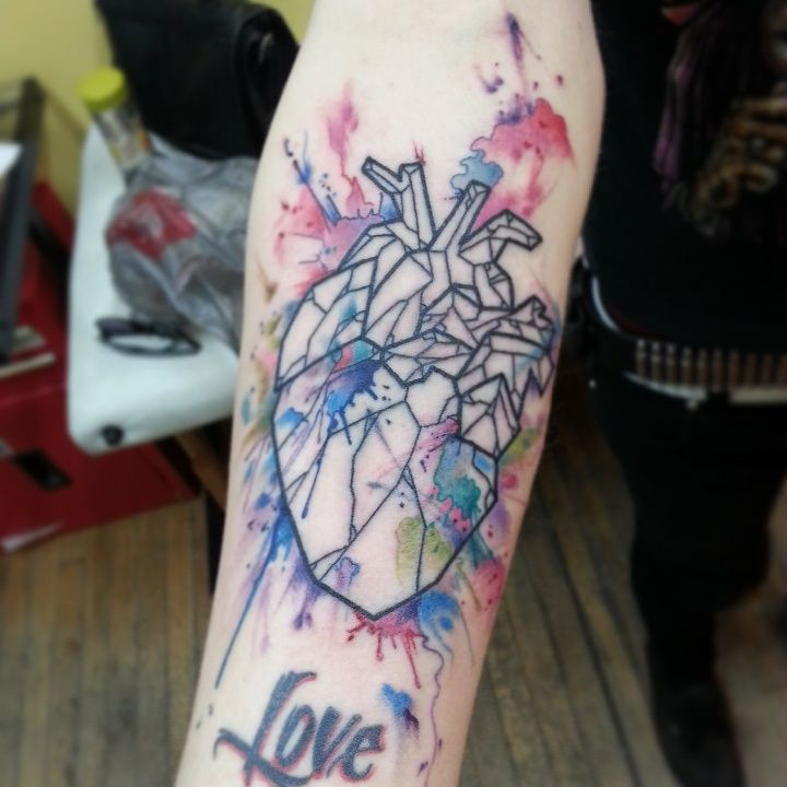 Watercolor Heart by Cameron Pohl of Fish Ladder Tattoo Co. IG: @justcommit  (love the mix of b/w geometric & watercolor styles)