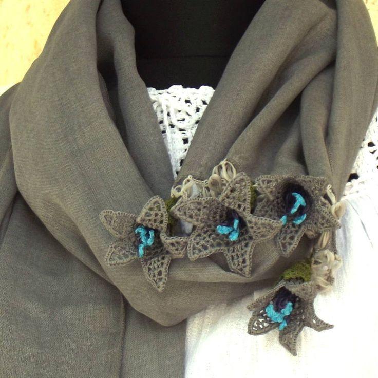 Turkish OYA Lace - Flower stole - Gray by DaisyCappadocia on Etsy