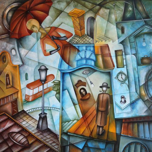 Railway Station Square by Eugene Ivanov, oil on canvas, 50 X 50 cm, SOLD. #eugeneivanov #@eugene_1_ivanov #modern #original #oil #watercolor #painting #sale #art_for_sale #original_art_for_sale #modern_art_for_sale #canvas_art_for_sale #art_for_sale_artworks #art_for_sale_water_colors #art_for_sale_artist #art_for_sale_eugene_ivanov