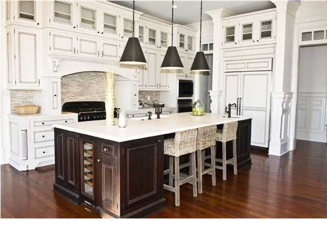 Dark island and white kitchen cabinets dream kitchen pinterest colors hardwood floors and - White kitchen with dark island ...