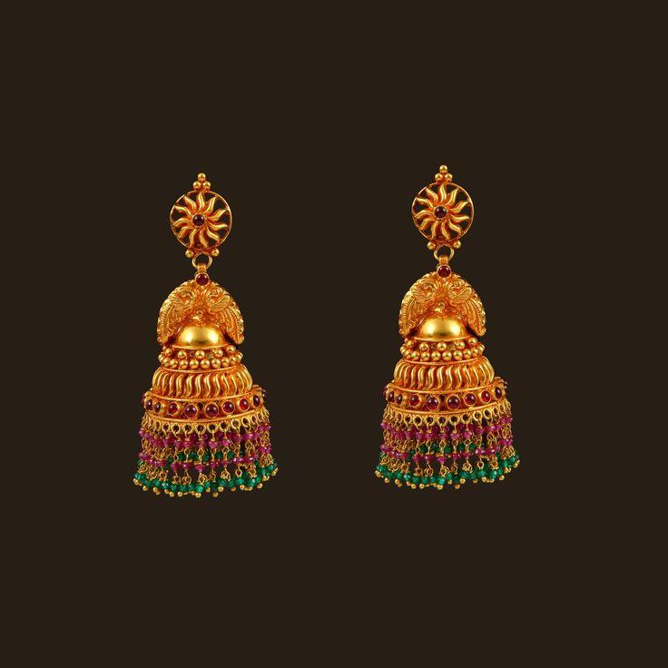Gold Peacock Earrings (108A35090) | Vummidi Bangaru Jewellers