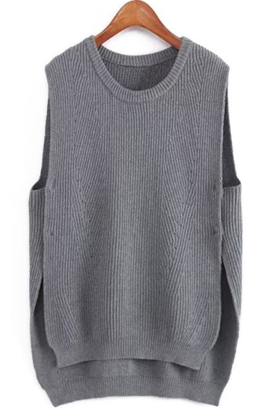 Side Slit High Low Knitted Tank Top