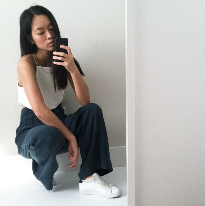 "Maria Van Nguyen ""White denim crop top that I made with a pair of wide pants from Acne Studios."""