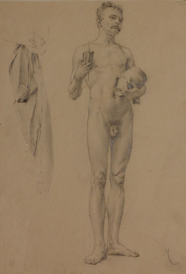 Karel Vítězslav Mašek - Study of nude male with book