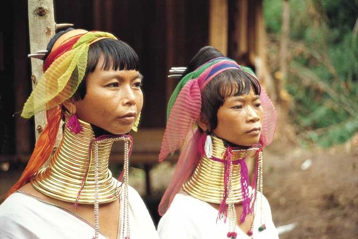 Thailand. From an early age, girls put rings around their necks and lengthen them. The rings make it hard for them to move their heads and can hurt their skin. Beauty involves pain