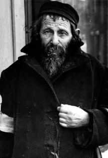 A Jewish man living in poverty in the Ghetto he looks old and sad. Jewish people shouldn't have had to live this way