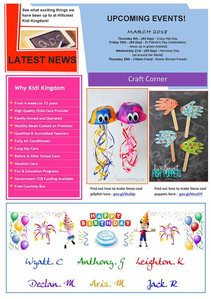 Welcome to the February / March Edition of Kidi Kingdom - Hillcrest News.  #Newsletter #ChildCare #Kindergarten #ChildrenFun #HappyChildren