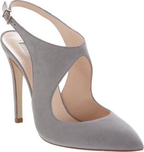 GIORGIO ARMANI Gray Cutout Slingback Pump #shoes #heels #beautyinthebag #omg