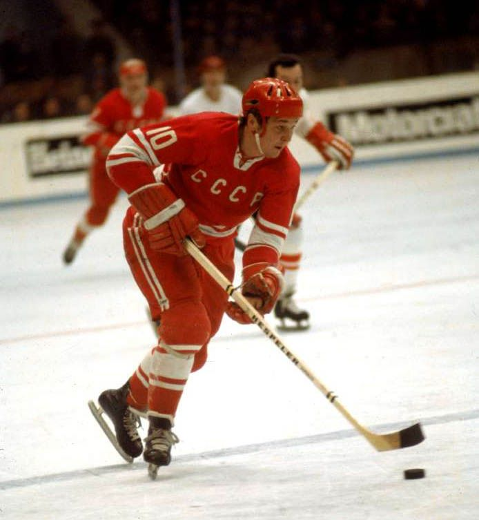 Aleksandr Maltsev | Maltsev was on the USSR team during the 1972 Winter Olympics, 1976 Winter Olympics, and 1980 Winter Olympics, winning gold in 1972 and 1976 and silver in 1980. He was named the best forward at the IIHF World Championships three times, leading the tournament in goals once and total scoring twice. He made the world championship all-star team on five occasions. Maltsev's 213 career goals in international play were the most by any Soviet player.