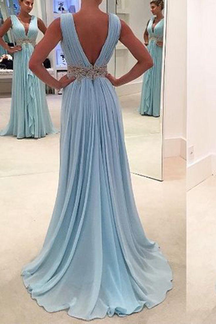 Light blue chiffon deep V-neck sequins waistband long evening dresses ...