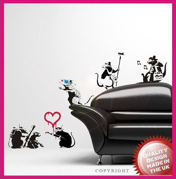 Banksy Rats vinyl wall decal sticker set 2 by circlewallart, £16.99