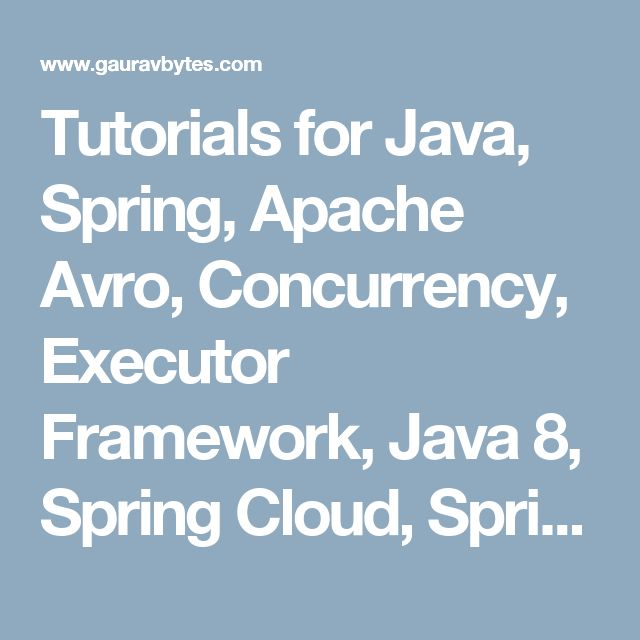 Tutorials for Java, Spring, Apache Avro, Concurrency, Executor Framework, Java 8, Spring Cloud, Spring Boot
