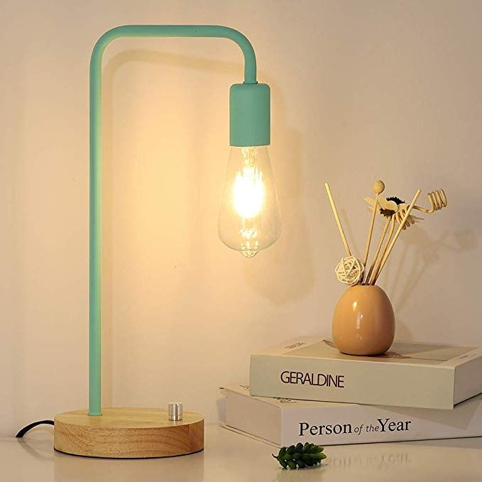 Minimalist Table Lamp Dimmable Nightstand Desk Lamp Bedside Lamp Industrial Style With Wood Base Mint Green Review In 2020 Table Lamp Industrial Bedside Lamps