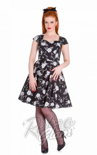 The Hell Bunny Natalia dress is available in XS-4XL and is super classy and sassy! Perfect holiday dress for the rockabilly gals, pinups and bombshells out there! #pinup #retro #retroglamclothing #retroglam #rowenaedmonton #holidays2015 #50s #dress #vintageinspired #marilynmonroe #hellbunny #plussize #curvygals #fashion