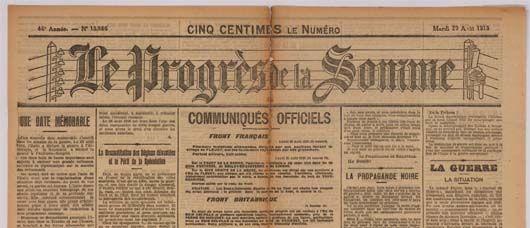 Le Progrès de la Somme | Le Courrier picard il y a cent ans