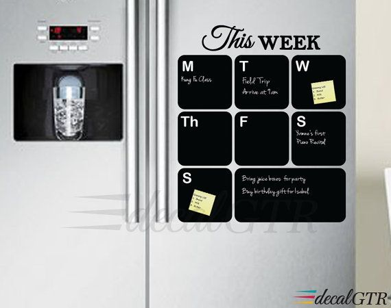 Diy Refrigerator Calendar : Fridge chalkboard decal weekly planner