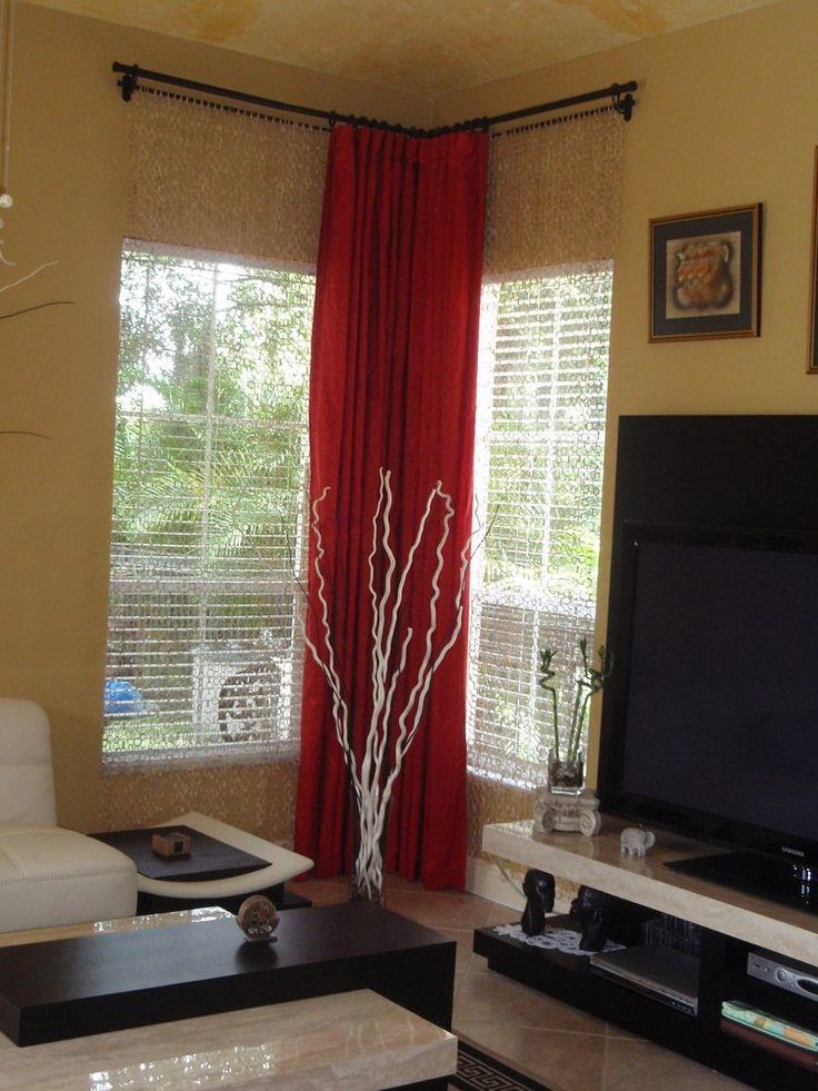 Double Corner Window Curtain Idea Consisting Transparent Window Shade And  Bright Red Window Curtain A Big