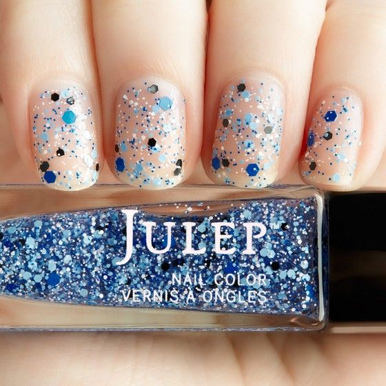Aquatic blues matte glitter top coat nail polish