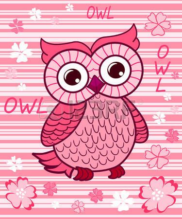 Cute owl on the colorfull background Vector print for children wear  Stock Vector