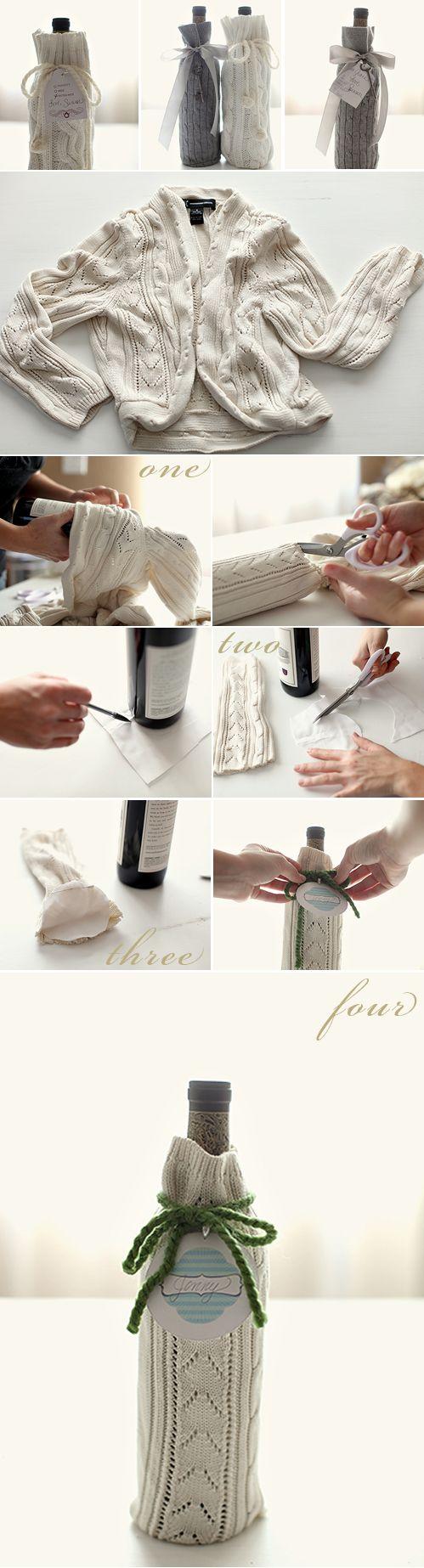 #DIY wine bottle gift wrap