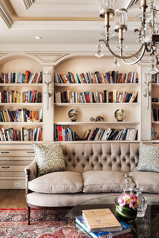 living room + library | Oswald Homes design