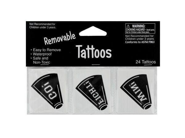 Removable Black Cheer Tattoos, 120 - 24 Pack Removable Black Cheer Tattoos. Weight: 0.0413/unit