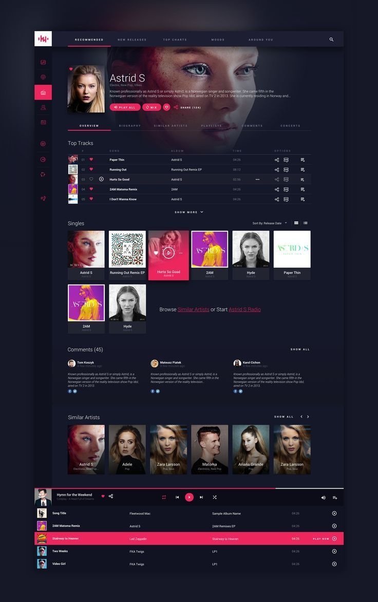 Online Music Streaming Service - Artist Page   UI Design   Web