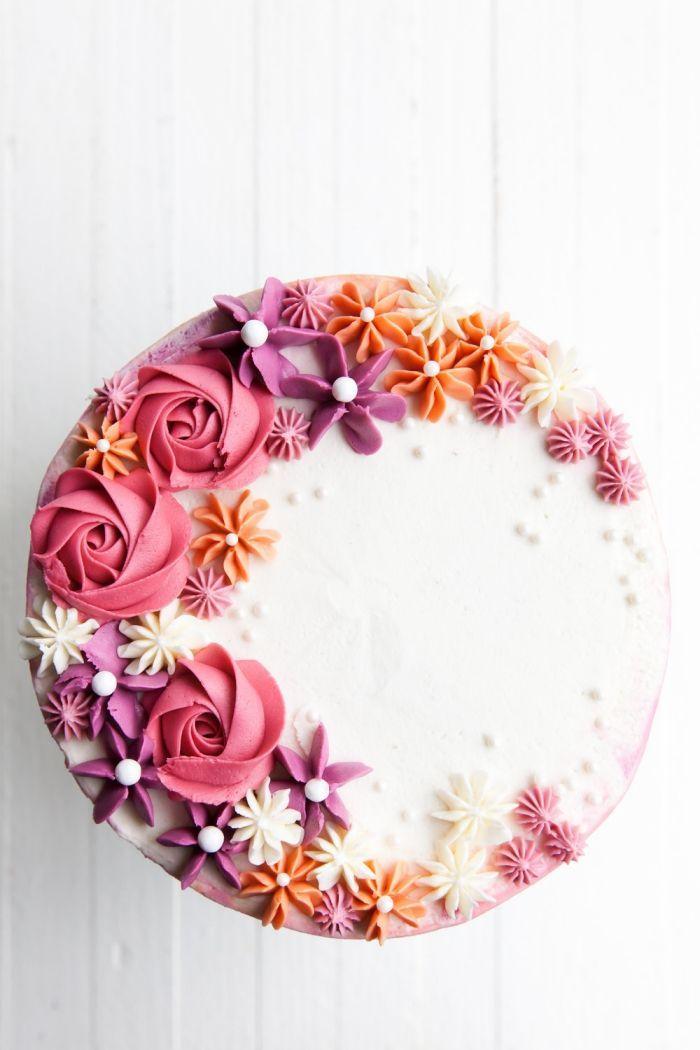 Kuchen selber basteln und dekorieren, Geburtstagstorte mit bunten Blumen … -…   – Torten Rezept