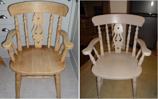 A before and after of my carver chair. Painted with Wickes chalky paint, Dulux kitchen paint and then finished with Wilko's matt varnish.
