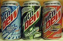 Mountain Dew - carbonated soft drink brand produced and owned by PepsiCo. A yellow-green-colored, citrus-flavored soda that was developed in the 1940s by Barney and Ally Hartman, who were beverage bottlers in Tennessee. Following the success of Code Red in 2001, over 30 subsequent Mountain Dew flavors have been introduced.