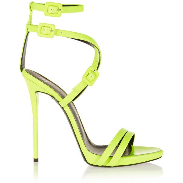 Giuseppe Zanotti Neon leather sandals, Women's, Size: 38 (37.815 RUB) ❤ liked on Polyvore featuring shoes, sandals, heels, sapatos, footwear, strappy sandals, yellow sandals, black platform sandals, black sandals and platform sandals