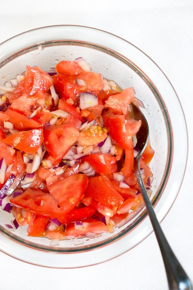 Fresh Summer Tomato Salad | Only 3 ingredients to make this wonderful refreshing summer tomato salad. | www.deliciousmeetshealthy.com #paleo #glutenfree #salad #summer #BBQ #grilling
