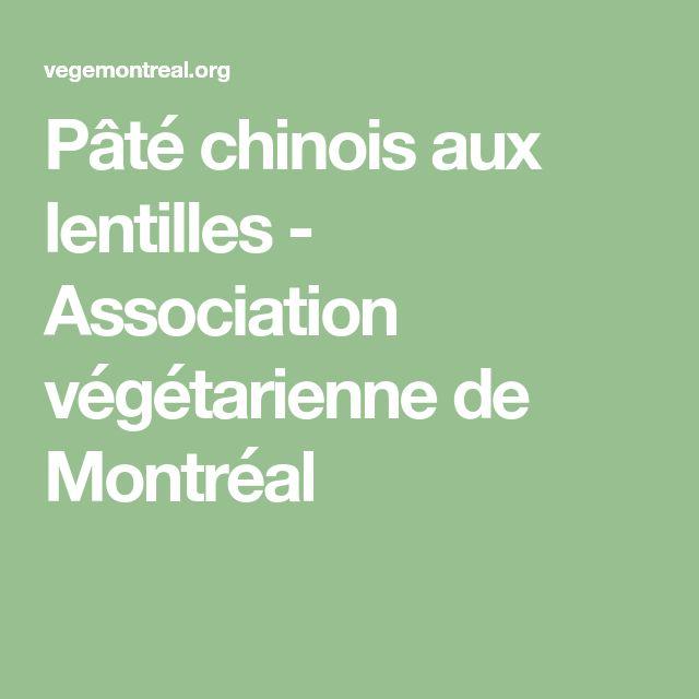Pâté chinois aux lentilles - Association végétarienne de Montréal