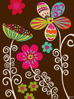 Kids Wall Art  Wonderland flores coloridas fundo marrom