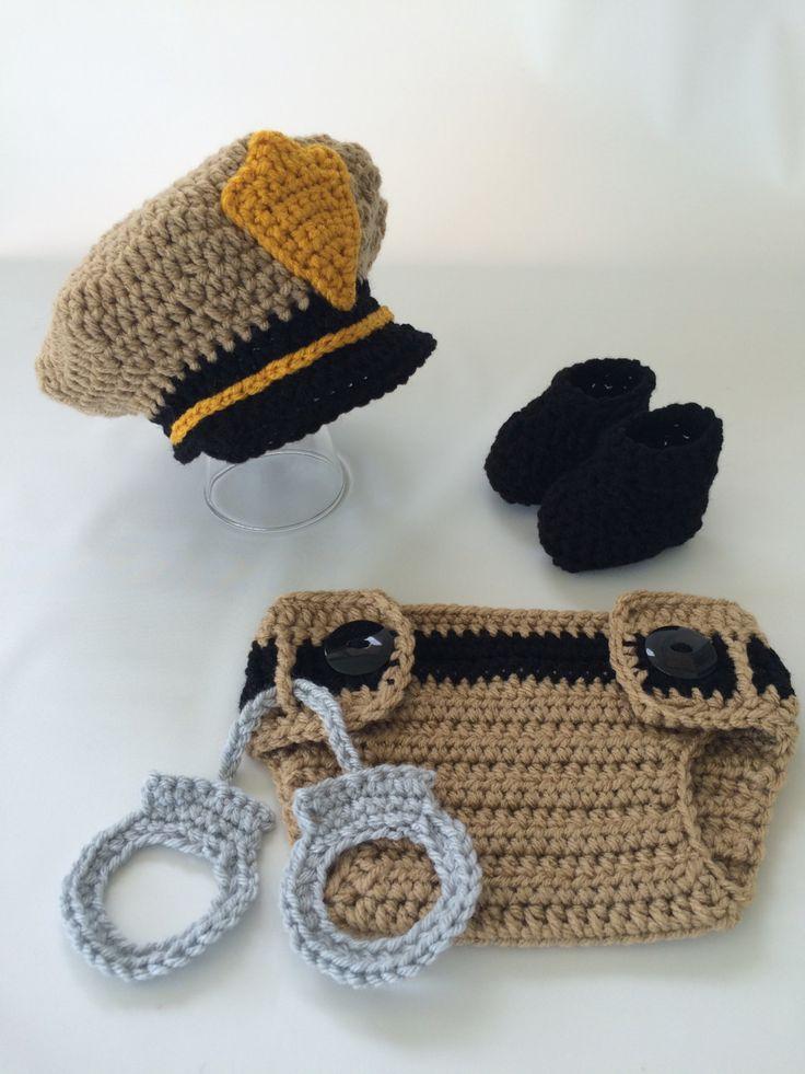 Newborn Police Officer Set - Baby Deputy Sheriff Outfit - Policeman Outfit - Police Officer Baby Photo Prop - Baby Policeman - Gift by TimelessCrochetCraft on Etsy