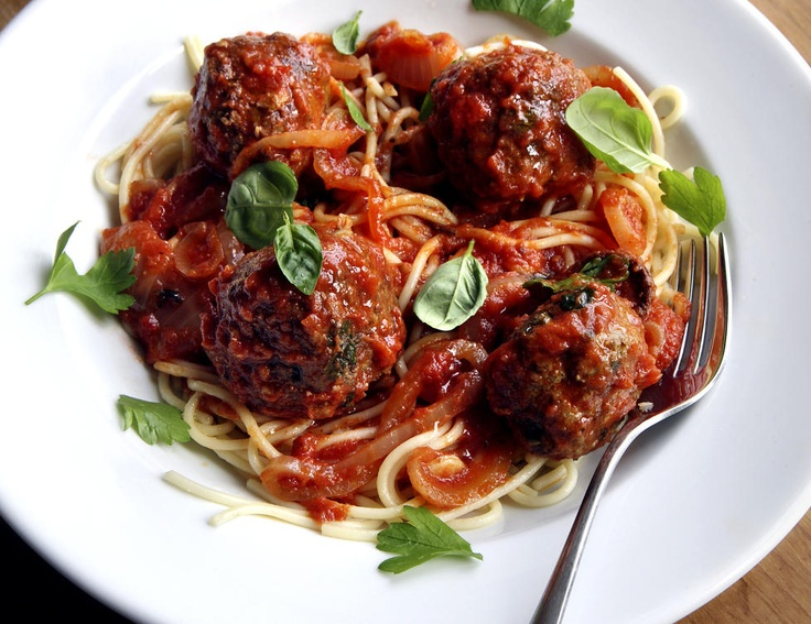 """Godfather"" meatballs.  Mom found the recipe in the paper years ago.  Yum!"