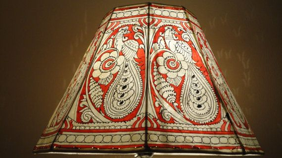 Large Floor  Lamp shade / Hand Painted Leather Lampshade /