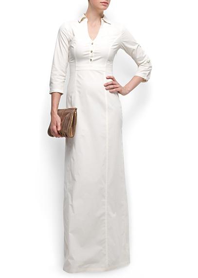 Shirt long dress in White