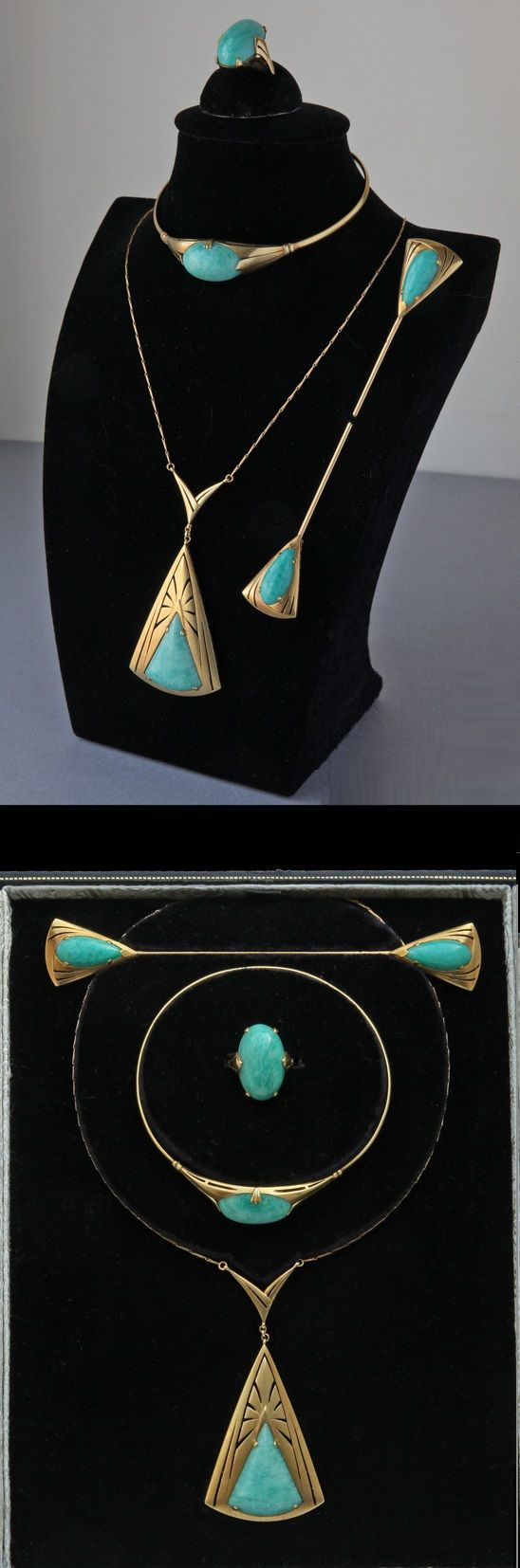 An Art Nouveau gold and Amazonite parure, by Sayad, French, circa 1912…