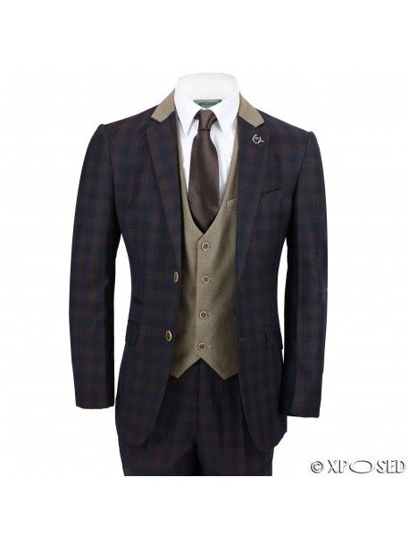 Vintage Tailored Fit Mens 3 Piece Suit Navy Check on Brown Contrasting Waistcoat