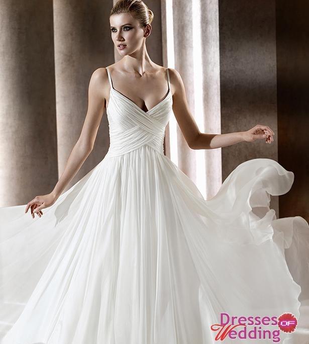 Spaghetti white chiffon wedding dress